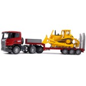 Bruder SCANIA R-Series Low Loader Truck, With Cat Bulldozer
