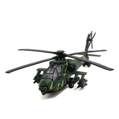 Indian Model Makers Apache Military Helicopter Pull Back Light and Sound 9""