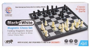 Ratnas Black & White Magnetic Chess Set  Folding Magnetic Board